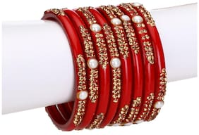 Red Glass Bangle Cum Kada Party Set Decorative With Colorful Beads And Stone (with Safety Cum Gift Box)