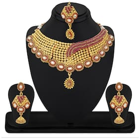 Apara Gold Plated Necklace Set With maang Tikka.