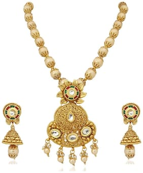 Apara NECKLACE SET WITH KUNDAN MEENAKARI AND PEARL CHAIN.
