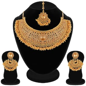 RG Bridal Pearl LCT Stones Gold Necklace Set Jewellery For Women