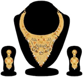RG FASHIONS Semi bridal Wedding Gold Plated One Gram Meenakari Traditional Stylish Necklace Earring Jewellery Set For Women