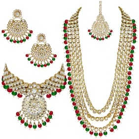 RG FASHIONS Marron Green Bridal Kundan Long Wedding Collection Gold Plated Stylish Necklace Maang Tikka Jewellery Set For Women