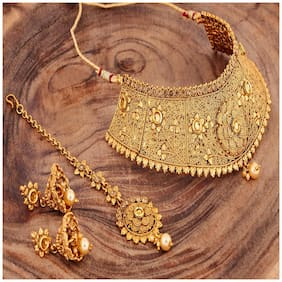 RG Gold Plated Traditional Choker Necklace Maang Tikka Jewellery Set For Women
