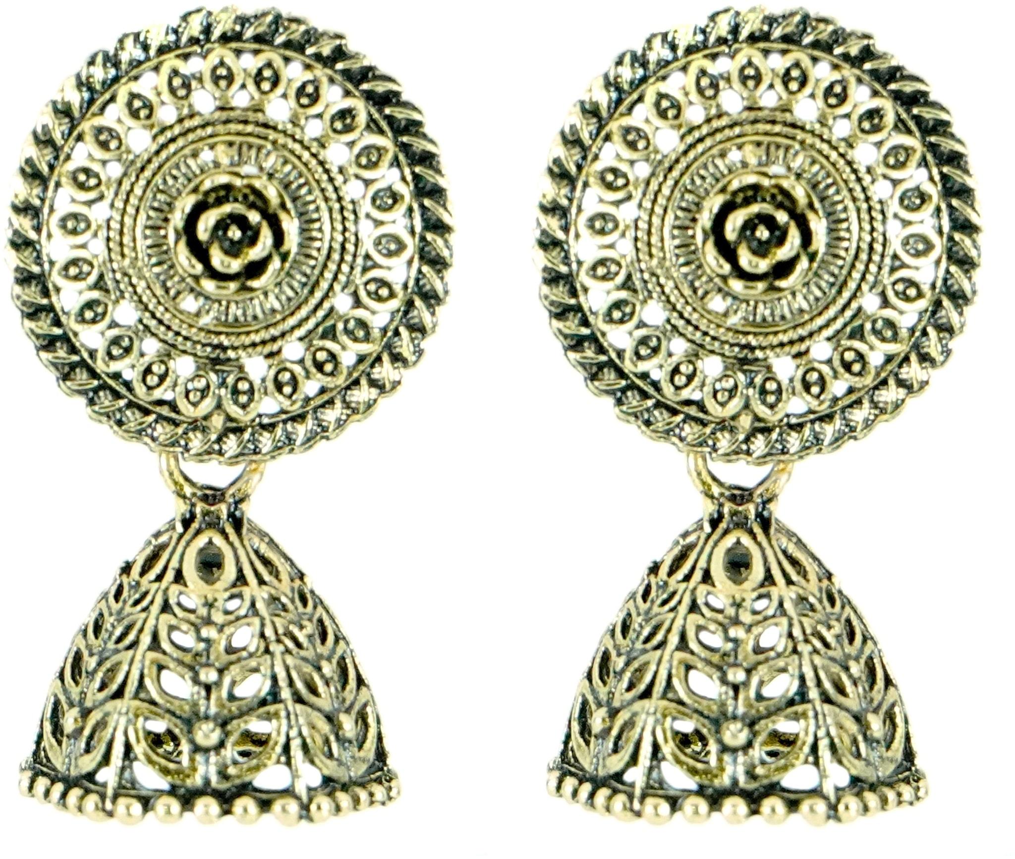 Riba Jewels Stylish Alloy Push Plugs Jhumki Earring Set Gold