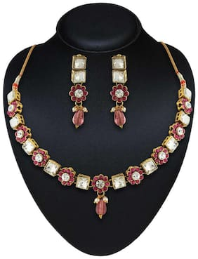 Rich Lady Attractive Design Gold Finishing Austrian Stone Necklace Set