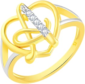Sukai Jewels Stylish Heart Initial 'A' Gold Plated Alphabet Ring For Women and Girls