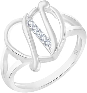 Sukai Jewels Stylish Heart Initial 'P' Gold Plated Alphabet Ring For Women and Girls