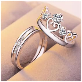Sparkling Crystal Heart Crown & Cross design adjustable Couple Ring for  your loved one & valentine,Engagement & Wedding Gift