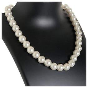 Royal Single Line Faux Fashion 12mm Pearl String Strand Big Size Moti Mala Women Girls Necklace(Assorted)