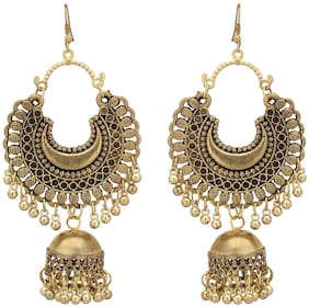 Royce Fashion Stylish Oxidised Afghani Tribal Fancy Party Traditional Latest Design Earrings For Girl and Women's (Set Of 1)