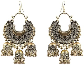 Royce Indo - Western Oxidised Stylish Gold Hook Earring For Women and Girls (Set of 1)
