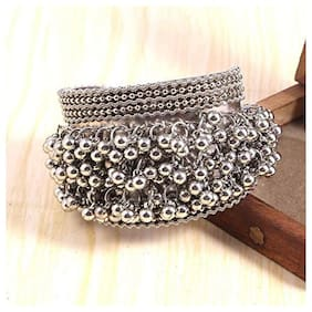 RUBY LUXURIOUS Silver Ghungroo Cuff Bracelet Traditional Kada Bangle For Women