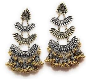 RUBY LUXURIOUS Partywear Trending Naira inspired Dual Tone Brass Jhumki Earring For Women/Girls