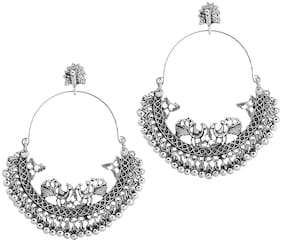 RUBY LUXURIOUS Anushka Inspired Oxidised Silver Chandbaali For Women