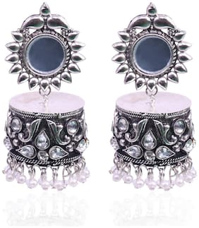 Ruby Luxurious Partywear Afghani Designer Ethnic Traditional Stone Studded German Oxidised Jhumka Earrings For Women/Girls