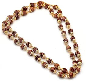 Rudraksh Mala Shiva God Gold Plated Rudraksh Long Mala Chain 28 inch for Men (Golden)