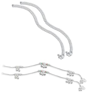RUHI COLLECTION Heer Collection Silver Plated Brass Anklet for Girls & Women (RC1001-08)