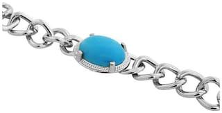 Salman Khan Inspired Turquoise Blue Silver Bracelet For Men