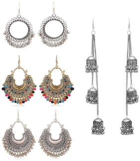 Samridhi DC Combo Pack of 4 Fashionable Trendy Alloy Earrings