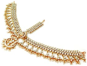 Sanjog Embellished Wedding Heavy Premium Matha Patti Maang Tika For Women & Girls
