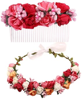 Sanjog Gorgeous Red And Pink Flower Comb Clip and Wooden Stic Tiara For Women For Wedding/Party