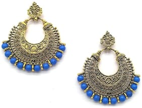 Sapna FX Oxidised Gold Plated Chandbali Earrings Jhumki with Navy Blue Beads for Girls and Women