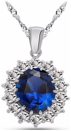 Sapphire Blue Silver 18K White Gold Plated Austrian Crystal Kate Middleton's Princess Diana Inspired Necklace Chain Pendant Romantic Love Party Wear Jewellery for Women by Caratcube (CTC - 106)