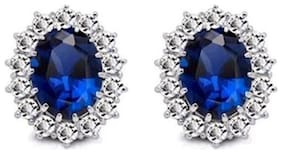 Sapphire Blue Silver 18K White Gold Plated Austrian Crystal Kate Middleton's Princess Diana Inspired Stud Earrings Romantic Love Party Wear Jewellery for Women by Caratcube (CTC - 107)