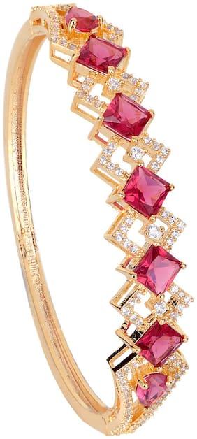 Pink;Gold Brass Bracelet