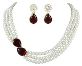 Shining Diva Pearl Necklace Jewellery Set with Earrings for Women/Girls (White) (7973s)