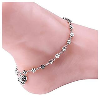 Shining Diva Fashion Oxidised Silver Floral Single Anklet for Women & Girls(Silver)(9575b)