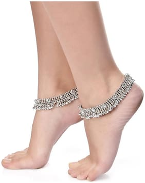 Shining Diva Traditional Kundan Silver Payal Anklet for Girls and Women