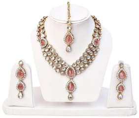 Shining Diva Fashion Gold Plated Pink Kundan Traditional Necklace Jewellery Set for Women & Girls(8647s)