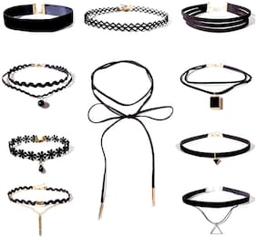 Shining Diva Fashion Jewellery Black Lace 10 pc Combo Choker Necklace Set for Women and Girls(cmb272)