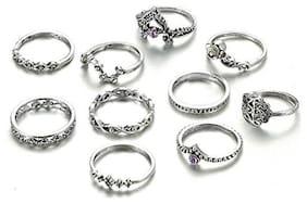 Shining Diva Fashion Oxidized Silver Ring for Women (Set of 10)