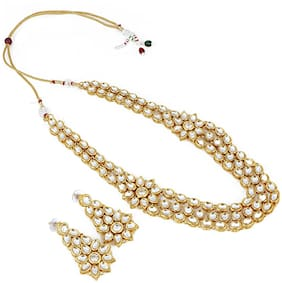 Shining Diva Fashion Latest Long Design Kundan Necklace Set for Women Traditional Gold Plated Jewellery Set for Women (White)
