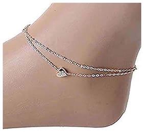 Shining Diva Jewellery Rose Gold Heart Anklet for Girls and Women