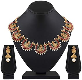 Shining Diva Fashion Latest Temple Design Necklace Set for Women Traditional Choker Gold Plated Jewellery Set for Women (Multicolor) (10653s)