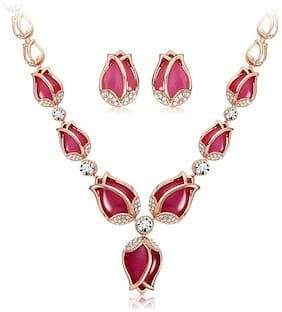 Shining Diva Fashion Latest Rose Gold Tulip Design Earrings Necklace Jewellery Set for Women