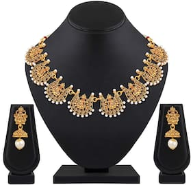 Shining Diva Fashion Latest Temple Design Necklace Set for Women Traditional Choker Gold Plated Jewellery Set for Women (Golden) (10646s)