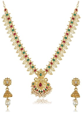 Shining Diva Fashion Latest Long Design Necklace Set for Women Traditional Gold Plated Jewellery Set for Women