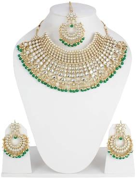 Shining Diva Fashion Latest Kundan Design Choker Necklace Set for Women Bridal Traditional Gold Plated Jewellery Set for Women (Green)