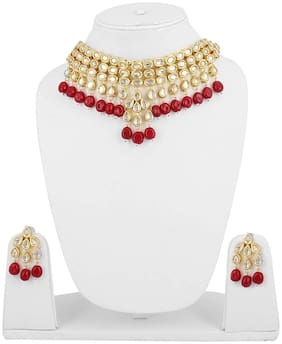 Shining Diva Fashion Red Kundan Latest Traditional Choker Necklace Jewellery Set for Women