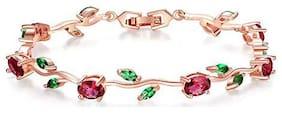 Valentine Gift By Shining Diva Fashion 18k Rose Gold Stylish Bangle Bracelet for Girls and Women