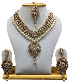 Shining Diva White Kundan Pearl Traditional Necklace Jewellery Set for Women