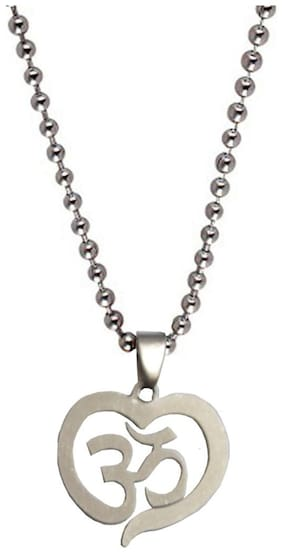 Shiv Jagdamba Heart Style Om Silver Stainless Steel Heart Pendent For Men And Boys