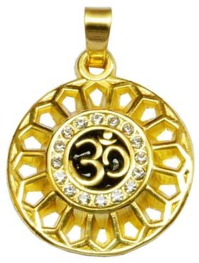 Shiv Jagdamba Sparkling Cubic Zirconia Om symbol Gold Alloy Round Pendant For Men And Women