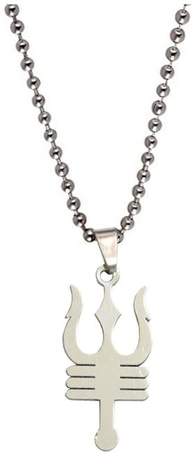 Shiv Jagdamba Shiv Trishul Silver Alloy Trishul Pendent For Men And Boys