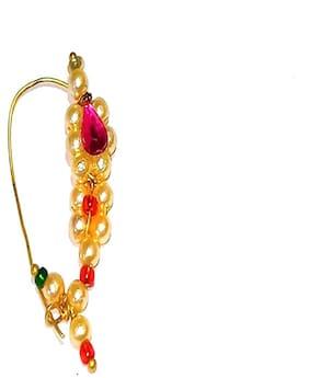 Shrungarika Indian Traditional Nathni Golden Nose Pin Party Wear Designer Nath Women/Girl Wedding Jewelry
