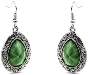 Three Shades Silver Plated Colorful Green Earring For Women & Girls